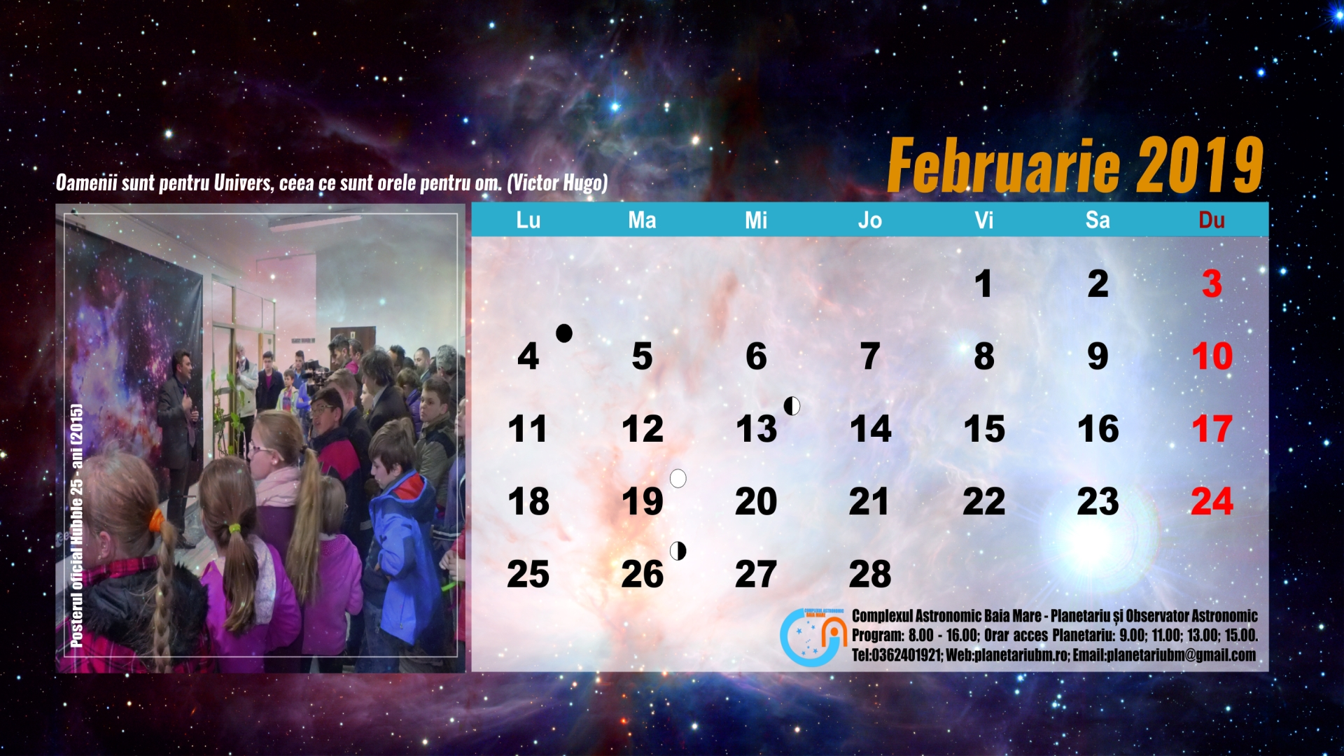 CALENDARUL EVENIMENTELOR ASTRONOMICE – LUNA FEBRUARIE 2019