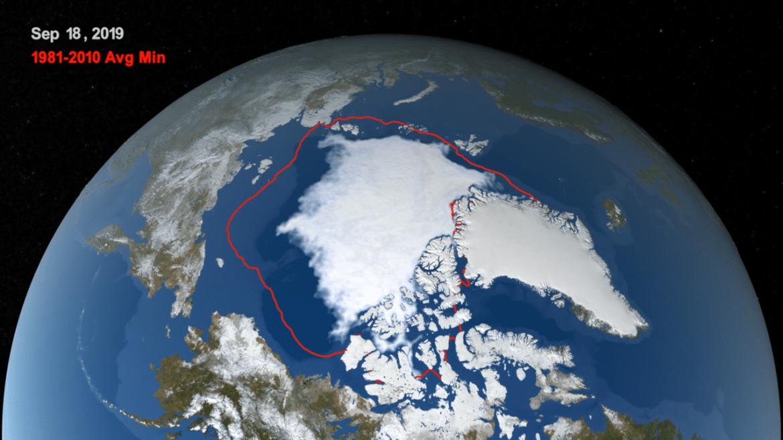 NASA (Gheața arctică marină la un al doilea minim istoric în Sept.2019); Credit: NASA/Trent Schindler