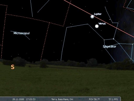 conjunctie Venus Jupiter 28.11.
