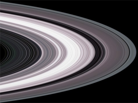 The rings of Saturn seen by Cassini. From right to left: the A Ring with the Encke Gap, the Cassini Division, the B Ring, the C Ring, and the D Ring. © NASA
