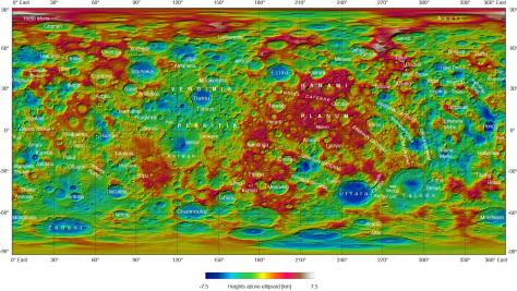 Topographic map of Ceres, due to Dawn. Click to enlarge. © NASA/JPL-Caltech/UCLA/MPS/DLR/IDA