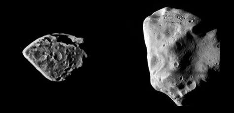 The asteroids (2867) Šteins (left) and (21) Lutetia (right), seen by Rosetta. © ESA