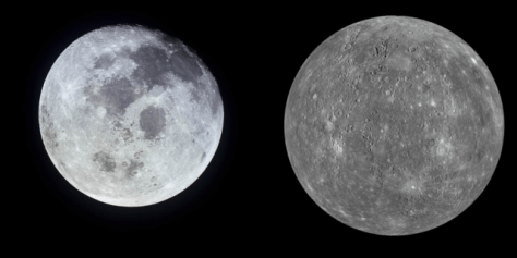 The Moon is on the left, and Mercury on the right.