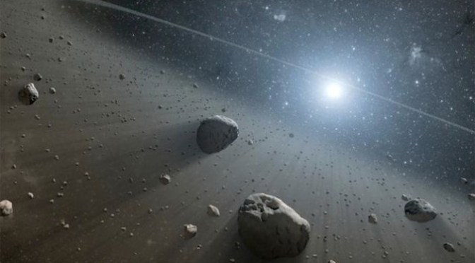 Artist's concept of a Kuiper Belt around the distant star Vega. Credit: NASA/JPL.