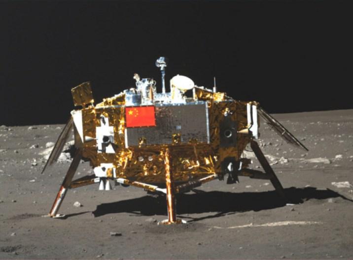 Vista frontal de la sonda Chang'e 3, 21 de Diciembre, 2013