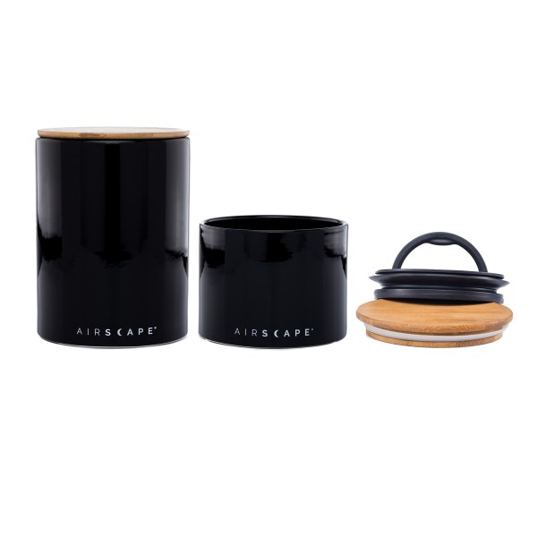 Photo of Ceramic Airscape Kitchen Canister set in black, two sizes