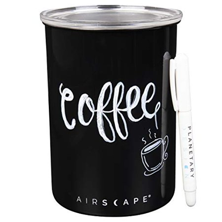 """Photo of Airscape Writer Pen next to an Airscape canister with the word """"Coffee"""" written on it"""