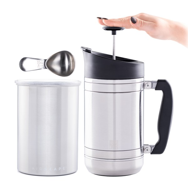 Photo of Brew At Home Bundle in brushed stainless steel - Airscape canister, 32oz. French Press and coffee scoop
