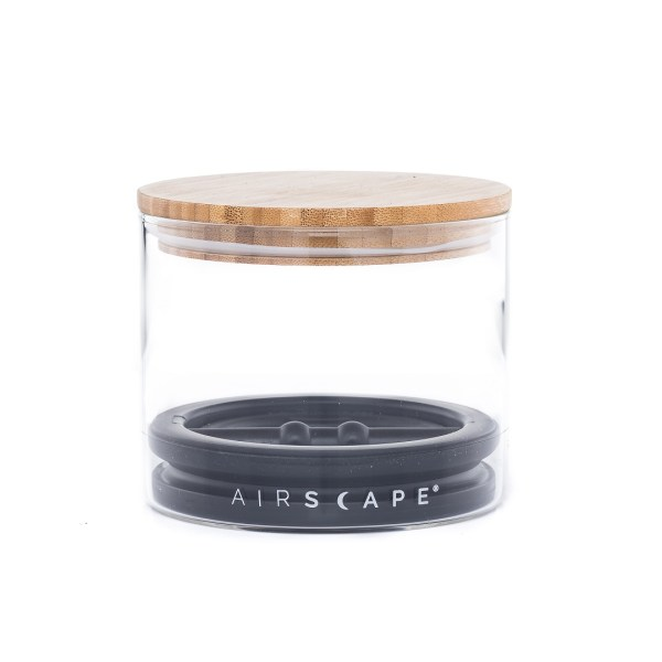 Photo of small, empty Airscape seal glass kitchen canister with bamboo lid