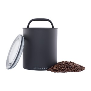 Photo of Matte black kilo (large) kitchen coffee canister with pile of coffee beans to the right