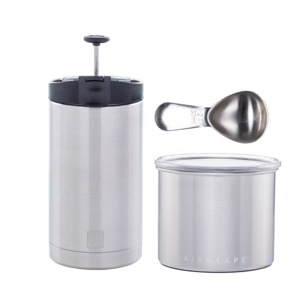 Photo of brushed stainless steel Brew and Go gift bundle with small Airscape, 20oz. Steel Toe French Press mug and coffee scoop