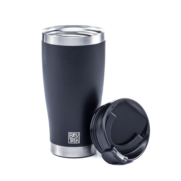 Photo of a black insulated tumbler cup with bru trek logo.