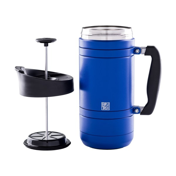 Photo of Mountain Lake blue, insulated BruTrek French press with plunger on the left side