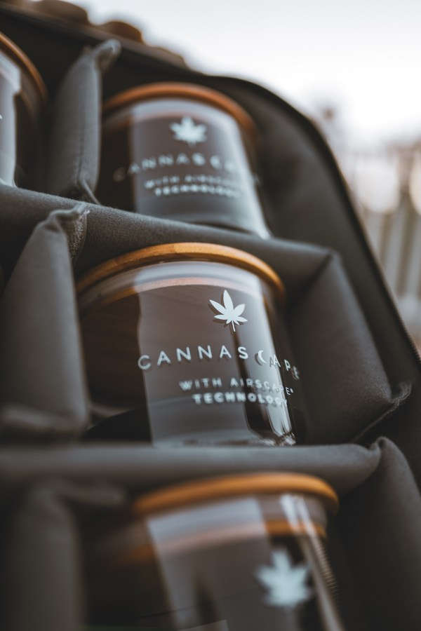 Photo of Cannascape Glass storage canisters inside of a backpack