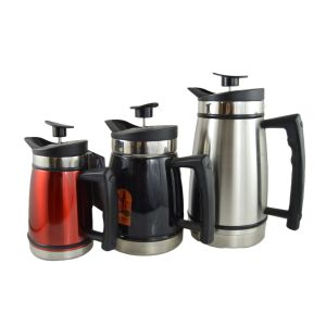 Photo of a small red coffee press, then a medium black sided press, and then a large brushed stainless steel coffee press.