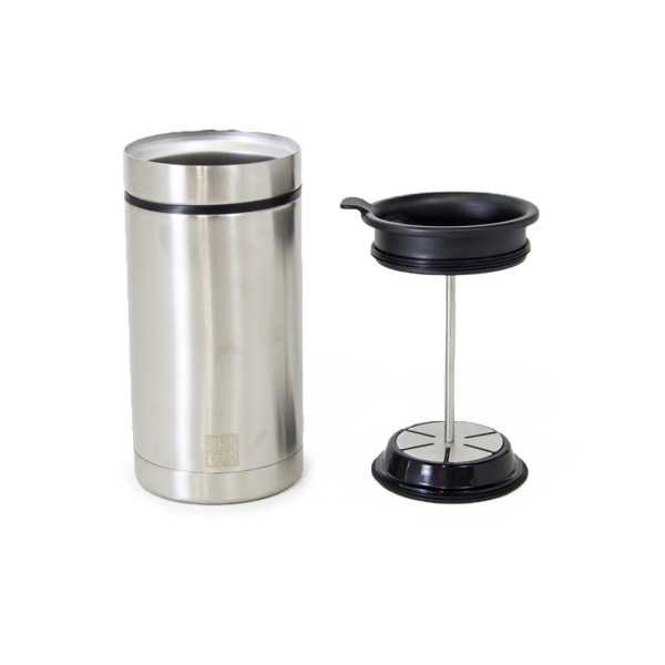 Steel Toe french press mug, discontinued style in brushed stainless steel