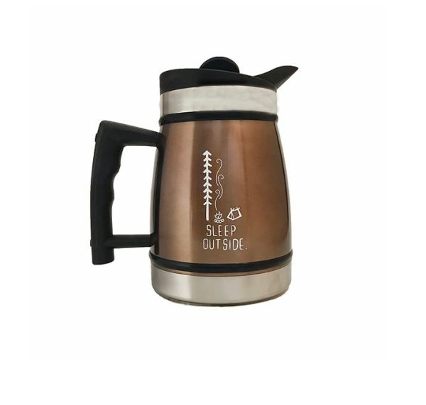 """Photo of brown insulated stainless steel French Press with """"sleep outside"""" camping deisgn printed on it"""