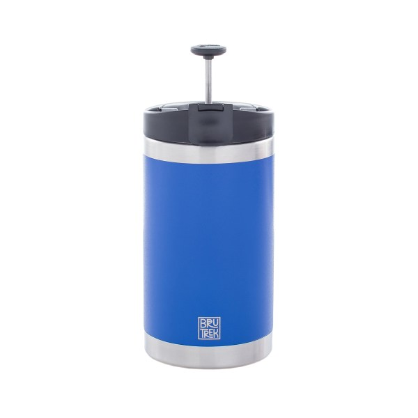 Photo of a blue coffee press, it's plunger up with a white background.