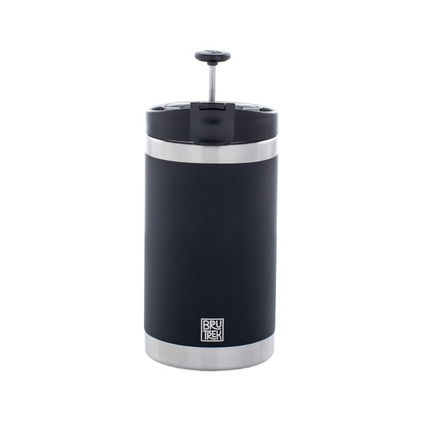 Photo of a black coffee press, it's plunger up with a white background.