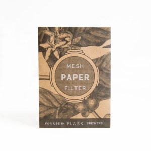 white background product photo of 20-pack FLASK paper filters