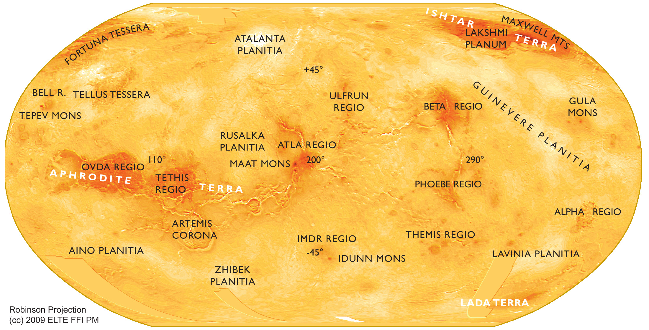 Small Scale Robinson Map Of Venus