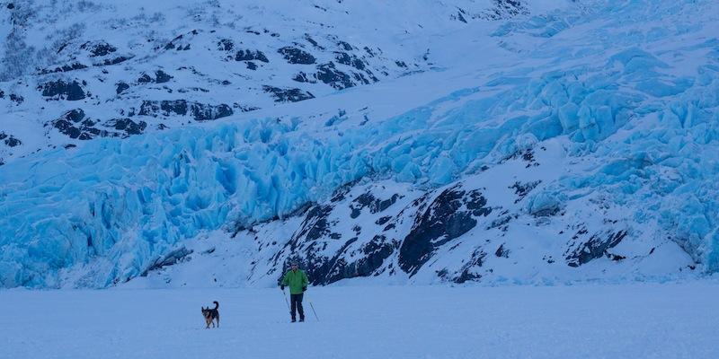 Cross country skier at Portage Glacier in Winter.