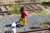Tarahumara girl and dog