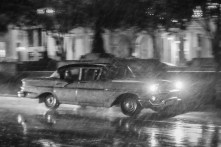 Black and White photo classic car