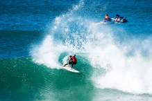 Sebastien Zietz of Hawaii placed equal 25th Round at the Corona Open J-Bay after his elimination from the event by Leonardo Fioravanti from Italy at Supertubes, Jeffreys Bay, South Africa.