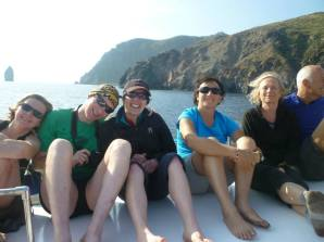 On the way back to Lipari after our swim to the boat!