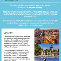 CHIROPRACTIC CENTRE FOR SALE IN CENTRAL MADRID SPAIN - BEAUTIFUL LOCATION, HIGH INCOME