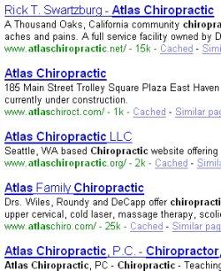 Atlas chiropractic screen grab five listings