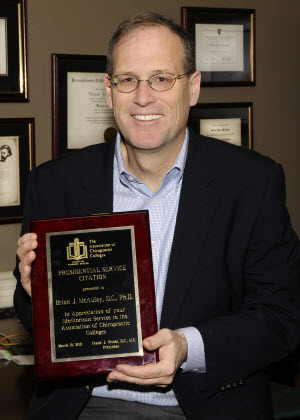 McAulay receives Presidential Service Citation from Association of Chiropractic Colleges