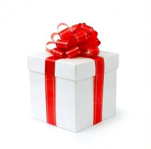 Christmas gift - white box with red ribbons and bow