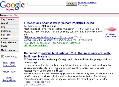Google News single page comments