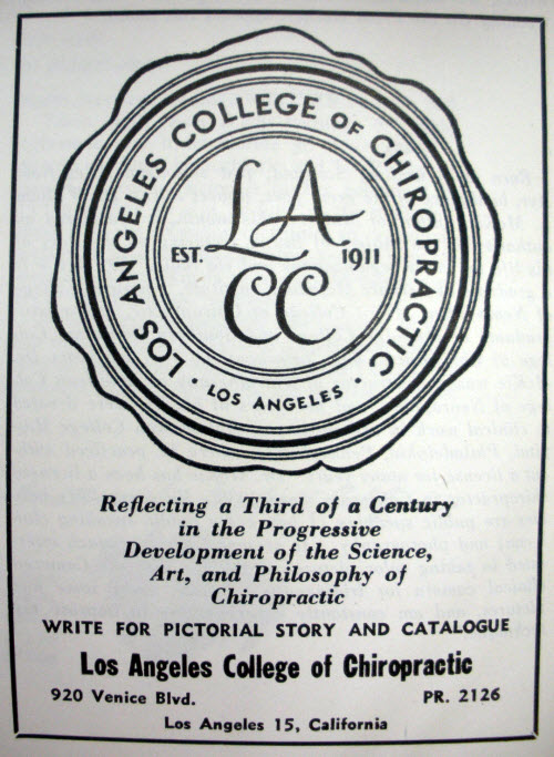 1946 advertisement Los Angeles Chiropractic College
