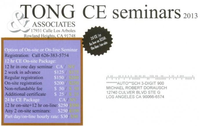Tong CE Chiropractor Seminars 2013