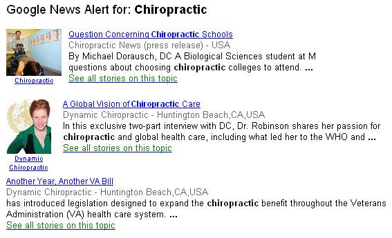Google News Alert for: Chiropractic