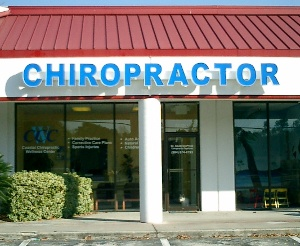 blue chiropractor sign