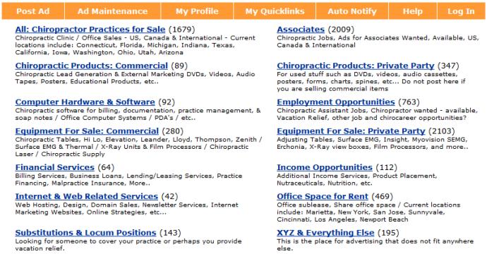 14 categories of classifieds