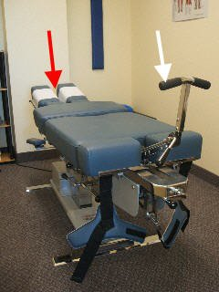 chiropractic table with flexion distraction attachments