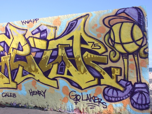 Purple and Gold Artistic Graffiti With Lakers Theme