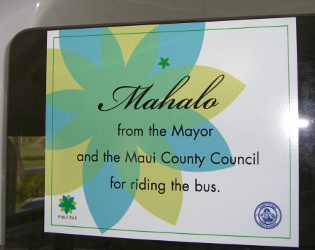 Mahalo riding the bus