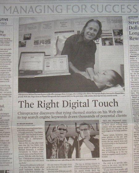 Van Halen chiropractic article