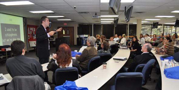 Dr. Liam Schubel presents during Parker Philosophy Fest