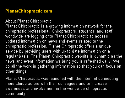 About Planet Chiropractic 1999