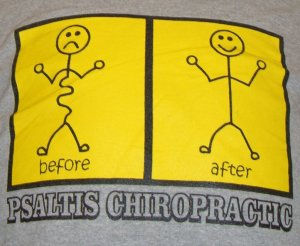 chiropractor sporting posture changes on his T-shirt