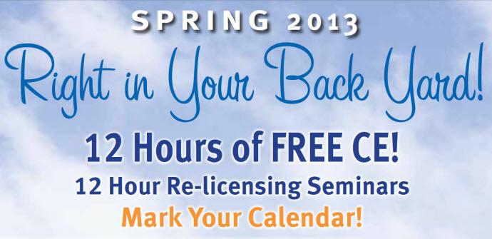 Spring 2013 CCA Chiropractic Licensing Seminars