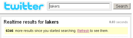 twitter: realtime search results for lakers