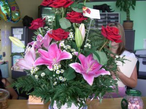 Valentines flowers chiropractic office